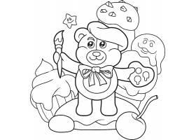 手绘小熊艺术家画家线稿