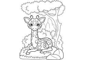 创意黑白线描梅花鹿高清可爱的可爱动物插画