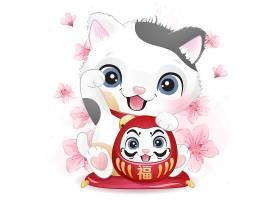 可爱猫咪形象卡通清新手绘插画设计