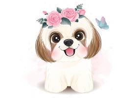 可爱小狗形象卡通清新手绘插画设计