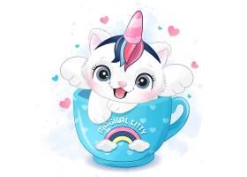 马克杯里的独角兽猫咪形象卡通清新手绘插画设计