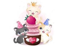 可爱猫咪与蛋糕甜品形象卡通清新手绘插画设计
