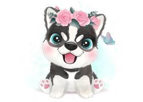 小狗形象卡通清新手绘插画设计