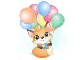 狐狸与气球形象卡通手绘清新插画设计