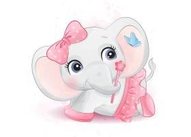 粉色小象形象卡通手绘清新插画设计