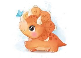 恐龙形象卡通手绘清新插画设计