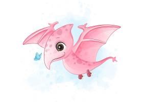翼龙形象卡通手绘清新插画设计