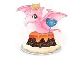 翼龙甜品形象卡通手绘清新插画设计