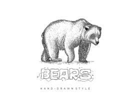 棕熊形象手绘单色线稿插画设计