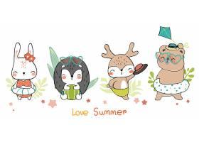 森林的小动物形象卡通手绘插画设计