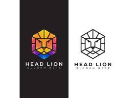 抽象狮子脸主题图标LOGO徽章标志设计