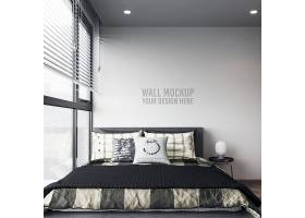文艺素雅的卧室客厅墙壁室内样机展示