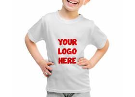 可爱儿童模特上衣T恤服装展示样机