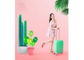粉色时尚年轻女性主题夏天海报