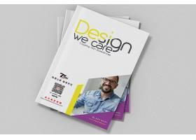 简洁平铺印刷品公司企业画册书本杂志展示样机素材