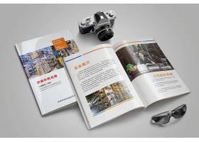 时尚简洁印刷品公司企业画册杂志展示样机素材