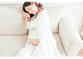 白衣简洁主题孕妇人物摄影写真照片素材