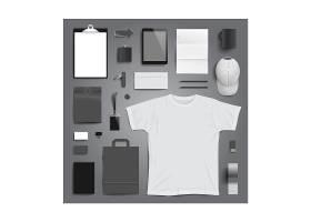 时尚简洁商务办公物品平铺整套VI展示矢量素材