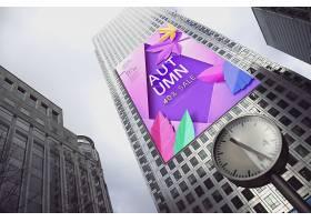 现代城市背景户外大型印刷广告牌展示智能样机