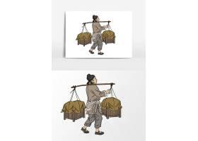 古代市井生活不同职业人物角色插画设计