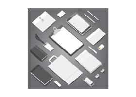 创意个性商务办公物品平铺整套VI展示矢量素材