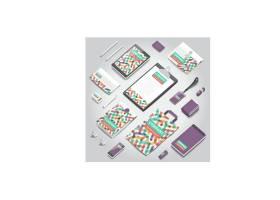 商务办公物品平铺整套VI展示矢量素材