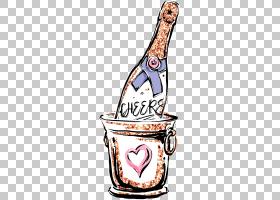 香槟抽象个性涂鸦插画免扣元素