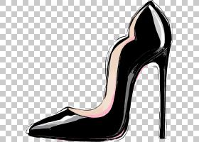 高跟鞋抽象个性涂鸦插画免扣元素