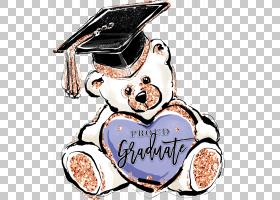 毕业小熊抽象个性涂鸦插画免扣元素