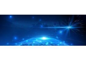 蓝色线条光影科技主题海报展板Banner背景