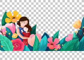 感恩母亲节主题插画免抠元素