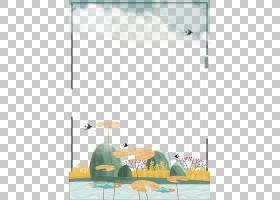 池塘插画边框免抠PNG元素