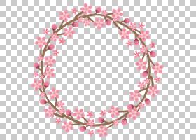 桃花圆形边框免抠PNG元素