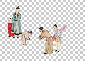 水墨古代人物 中国风古典古人插画PNG (105)