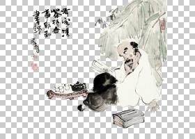 水墨古代人物 中国风古典古人插画PNG (15)
