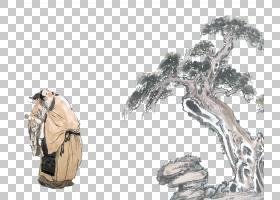 水墨古代人物 中国风古典古人插画PNG (18)