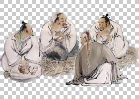 水墨古代人物 中国风古典古人插画PNG (21)