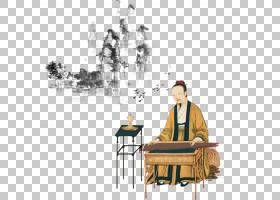 水墨古代人物 中国风古典古人插画PNG (37)