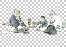 水墨古代人物 中国风古典古人插画PNG (39)