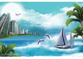 海滨小城房地产主题海报模板