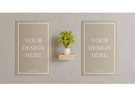 时尚淡雅白色方形框架在墙上与植物装饰模板