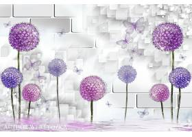 创意漂亮蒲公英3D壁纸海报背景素材