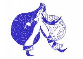 蓝色抽象手绘女性形象艺术装饰插画