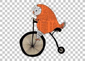 猫头鹰卡通,运动器材,桔黄色的,车辆,混合动力自行车,自行车轮子,