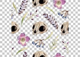 水彩花卉无缝图案背景png (11)