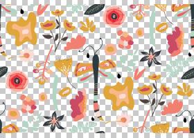 水彩花卉无缝图案背景png (116)