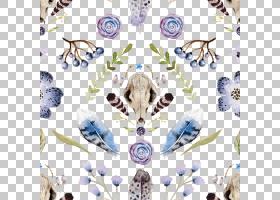 水彩花卉无缝图案背景png (13)