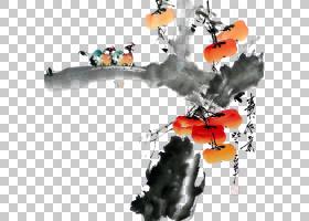 绘画卡通,技术,机器,柿子,绘画,中国画,花鸟画,水墨画,柿子,日本