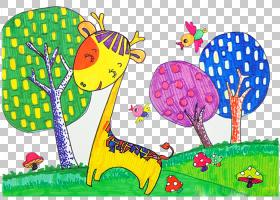 树木水彩画,动画片,草,玩,种,树,长颈鹿科,儿童艺术,--9,卒中,儿