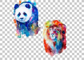 水彩动物,肖像,艺术家,油画漆,绘图,动物,画布,版画制作,狮子,绘